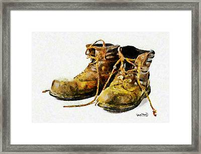 Framed Print featuring the painting Walk A Mile In My Shoes by Wayne Pascall