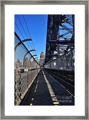 Walk Across Sydney Harbour Bridge Framed Print by Kaye Menner
