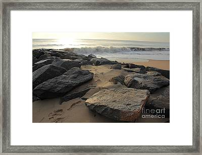 Walk By The Shore Framed Print by Everett Houser