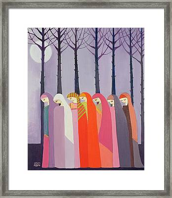 Walk In The Park, 1989 Acrylic On Canvas Framed Print by Laila Shawa