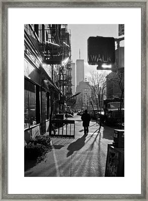 Walk Manhattan 1980s Framed Print