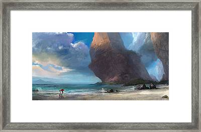 Walk On The Beach Framed Print by Steve Goad