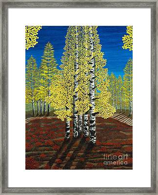 Walk Through Aspens Triptych 2 Framed Print