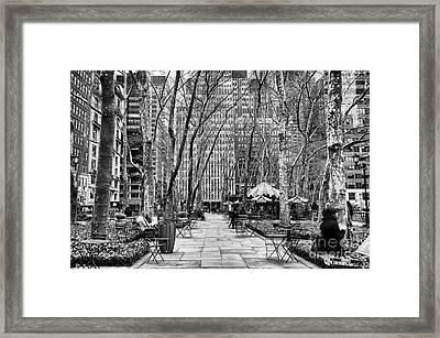 Walk Through Bryant Park Mono Framed Print by John Rizzuto