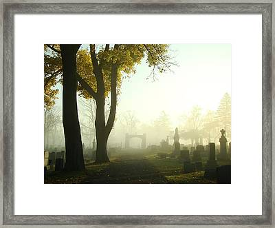 Walk Through The Hazy Cemetery Framed Print by Gothicrow Images