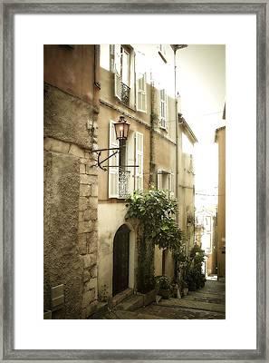 Walk Through Villefranche Framed Print by Julie Palencia
