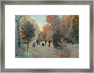 Walk To Skiing In The Winter Park Framed Print
