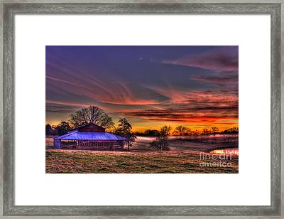 Misty Morning Sunrise Walker Church Road Framed Print by Reid Callaway