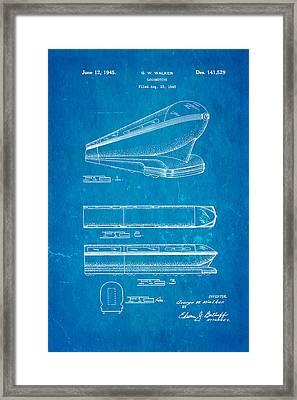 Walker Train Locomotive Patent Art 1945 Blueprint Framed Print by Ian Monk