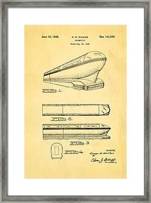 Walker Train Locomotive Patent Art 1945 Framed Print