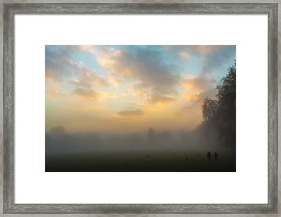 Walkers In The Fog Framed Print