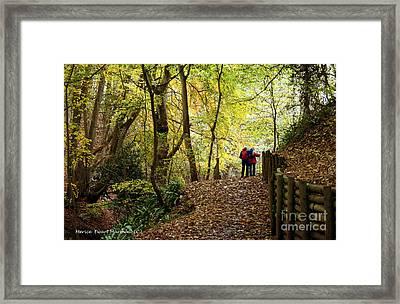 Walkers In The Woods Framed Print by Merice Ewart