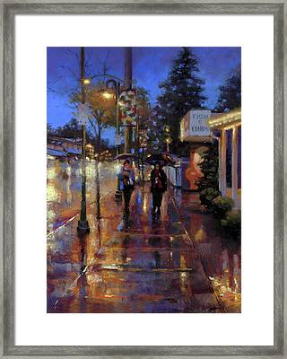 Walkin' In The Rain Framed Print by Dianna Ponting