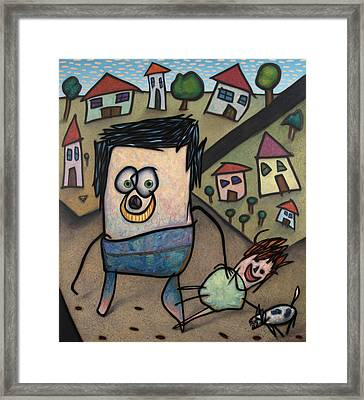 Walkin The Dog Framed Print by James W Johnson