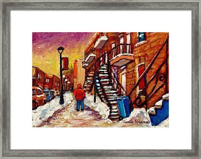 Walking Along Wellington Street Verdun Winter Painting Montreal City Scene By Carole Spandau Framed Print by Carole Spandau