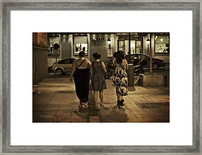 Walking At Night - Madrid Spain Framed Print by Mary Machare