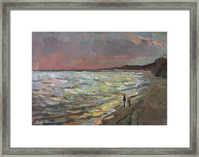 Walking By The Sea Framed Print