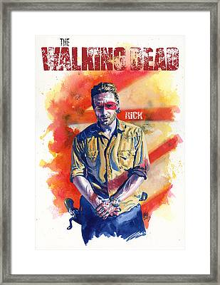 Walking Dead Rick Framed Print by Ken Meyer jr