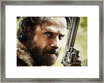 Walking Dead - Rick Framed Print by Paul Tagliamonte