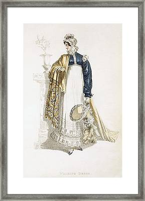 Walking Dress, Fashion Plate Framed Print by English School