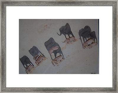 Walking Elephants Framed Print