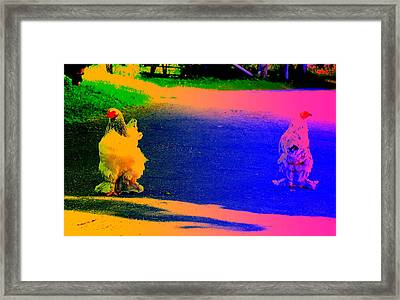 Walking Hens Should Be More Difficult To Fence In And Eat  Framed Print by Hilde Widerberg
