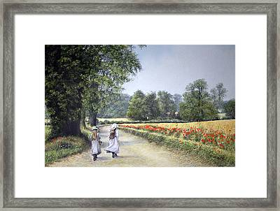 Framed Print featuring the painting Walking Home by Rosemary Colyer