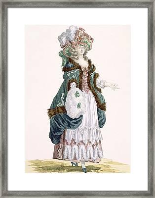 Walking In A Garden In Luxembourg Framed Print by Francois Louis Joseph Watteau