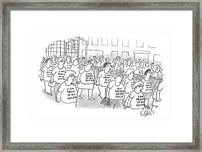 Walking In A Parade Framed Print by Sam Gross