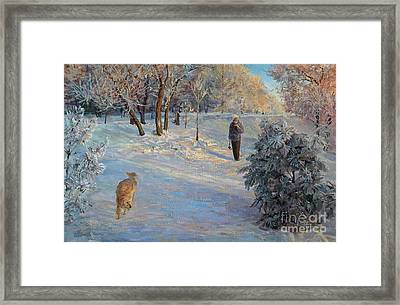 Walking In A Winter Park Framed Print