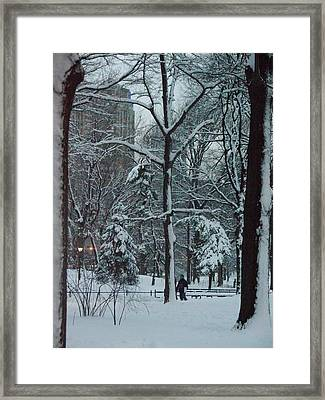 Walking In Snowy Central Park At Dusk Framed Print by Winifred Butler