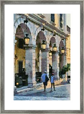 Spianada Square In Corfu City Framed Print
