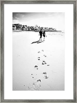 Walking In The Beach Framed Print