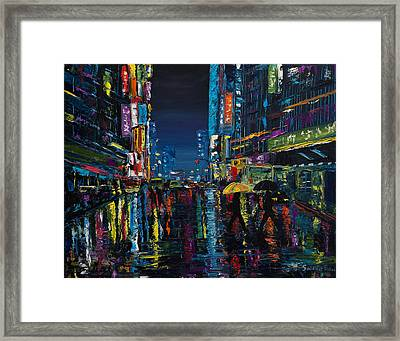 Walking In The City Taipei  Framed Print
