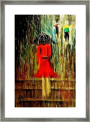 Framed Print featuring the painting Walking In The Rain.. by Cristina Mihailescu