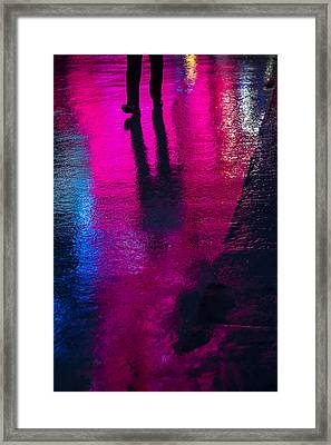 Walking In The Rain Framed Print by Garry Gay