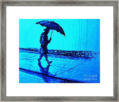 Walking In The Rain Framed Print