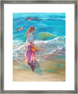 Framed Print featuring the painting Walking In The Waves by Karen Kennedy Chatham