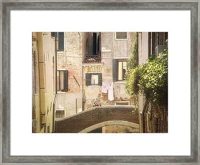 Walking In Venice Framed Print by Nicola Nobile
