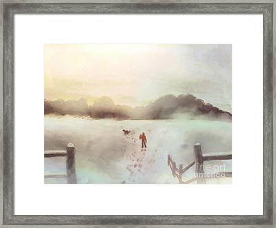 Dog Walking In Winter Framed Print by Pixel Chimp