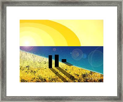 Walking Into The Sunset Framed Print
