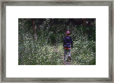Boy Walking Into The Woods Framed Print