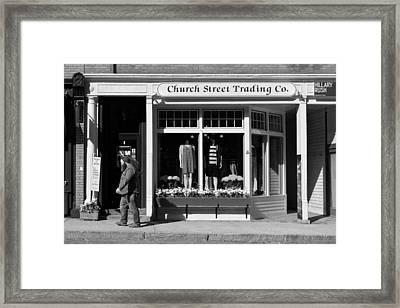 Walking Man - Great Barrington - Black And White Framed Print by Geoffrey Coelho