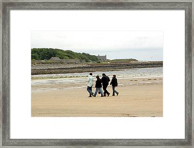 Walking On A Beach Framed Print by Public Health England