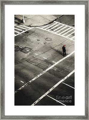 Walking On A City Street Alone Framed Print by Margie Hurwich