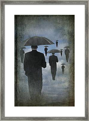 Walking On Air In A Cloudy Blue Sky Framed Print