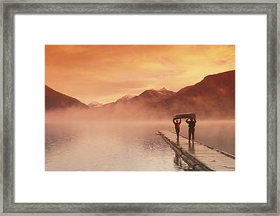 Walking On Dock Robe Lake  Sunrise Sc Framed Print by Michael DeYoung