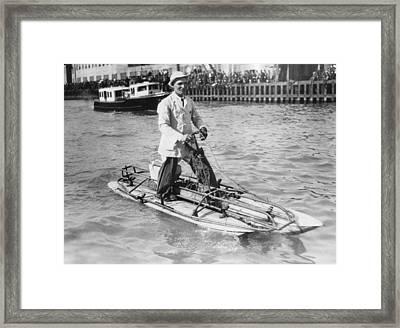 Walking On San Francisco Bay Framed Print by Underwood Archives