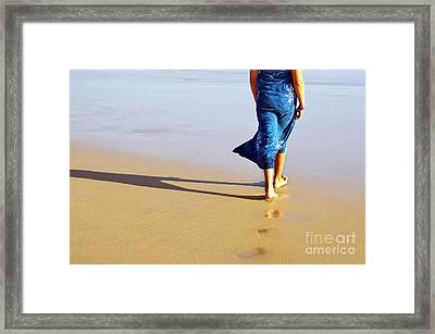 Walking On The Beach Framed Print by Carlos Caetano