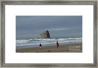 Walking On The Beach Framed Print by Susan Garren